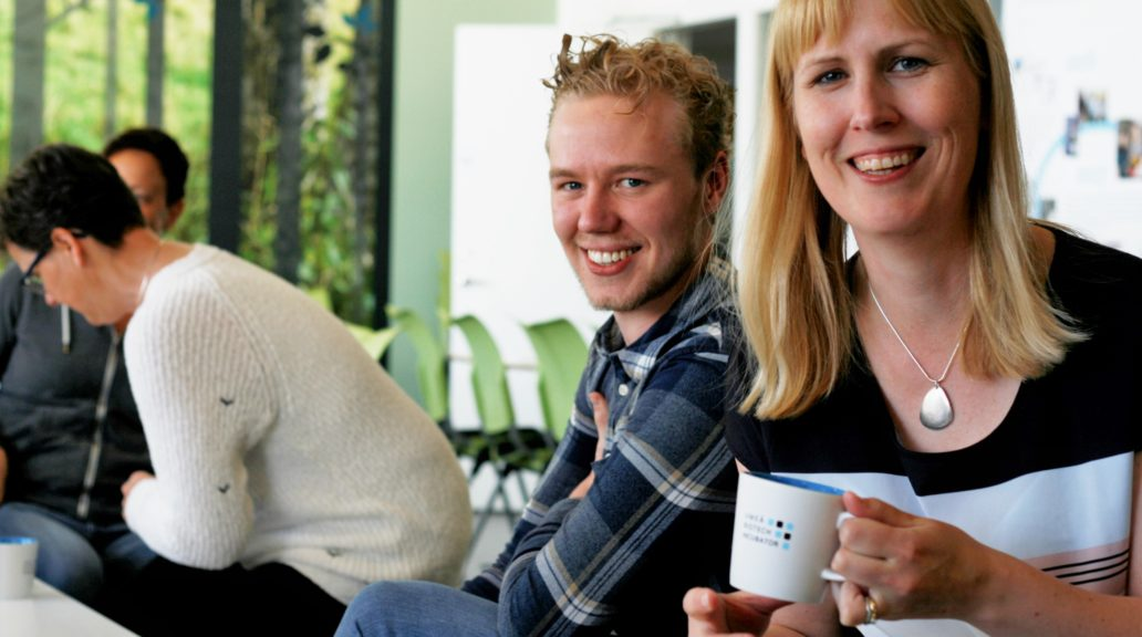 Jennie and Elias enjoy coffee and company in the social area at Umeå Biotech Incubator. Photo: Carolina Hawranek