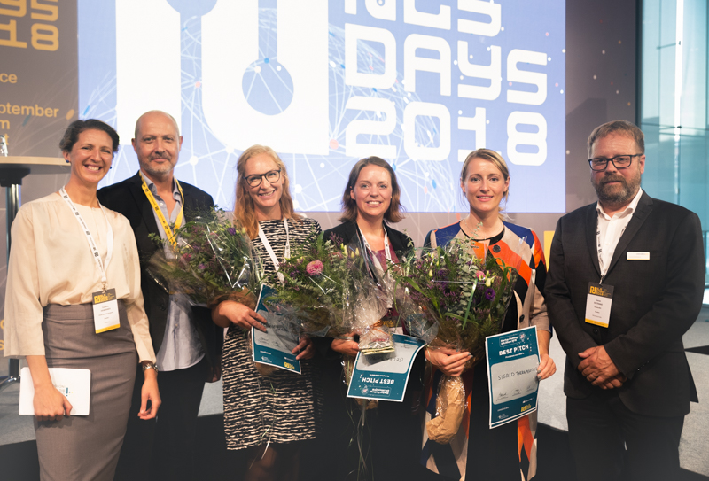 From left: Moderator Carolina Hawranek, Olivier Duchamps, Bionordic, second runner up Jennifer Hansson from Akuru Pharma, best pitch winner Annette Säfholm from Gedea Biotech, Sana Aljmovic from Sigrid Therapautics and Jonas Ekstrand, SwedenBio.