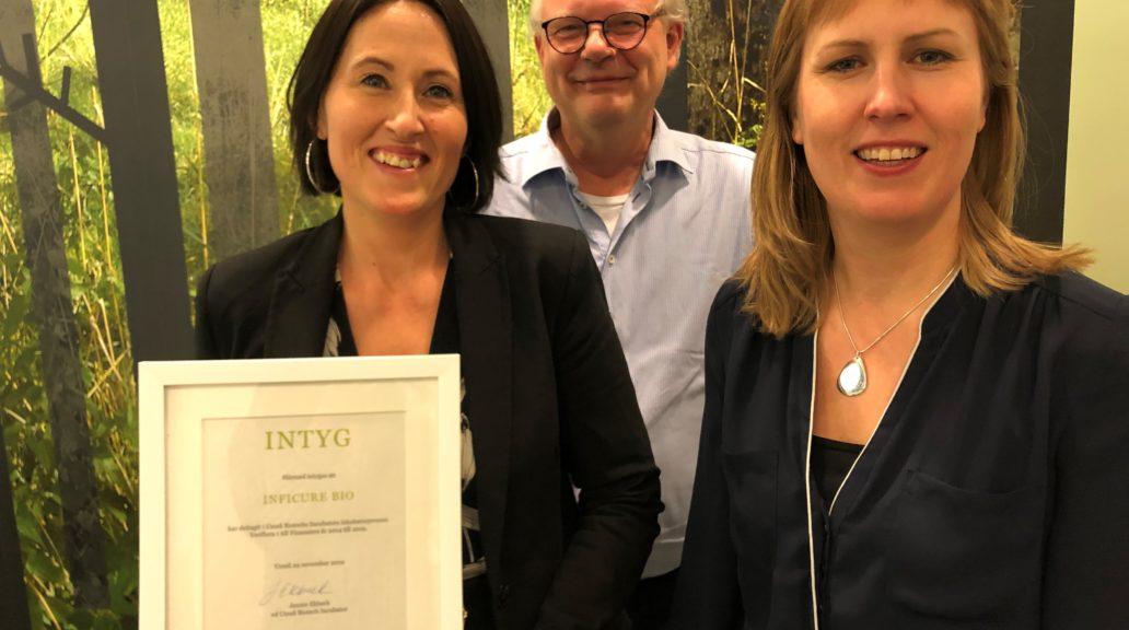 Inficure Bio, Sofia Mayans, Dan Holmberg, Jennei Ekbeck CEO Umeå Biotech Incubator